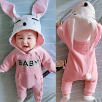 女婴儿连体衣服秋冬季0岁6个月男宝宝2冬装靓仔衣服新生儿外出服