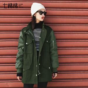 七格格工装女冬季外套中长学生新款韩版百搭bf宽松原宿棉衣袄潮