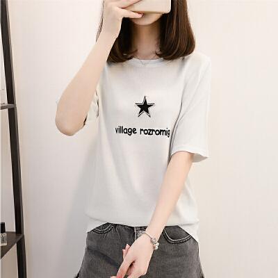 苿莱2018夏季新款冰麻t恤女圆领短袖薄短款宽松冰丝针织衫女半袖上衣