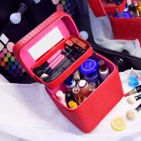 七夕礼物大容量化妆包双层便携手提化妆箱大号简约化妆品收纳盒旅行小方包
