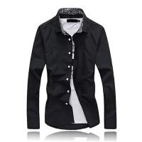 韩观男士长袖衬衫韩版修身西装休闲内寸衫打底白色衬衣毛衣打底衬衫 S 95斤以下