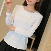 白色长袖雪纺衫套头圆领花边打底衫休闲新款小清新 白色