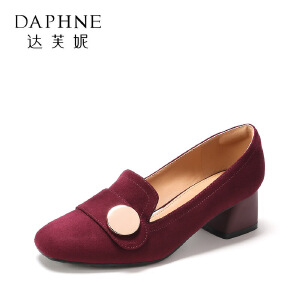 【9.20达芙妮超品2件2折】Daphne/达芙妮 杜拉拉春秋粗跟单鞋金属扣绒面高跟女鞋