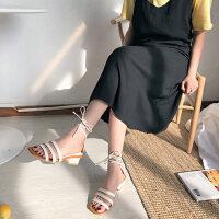 户外罗马绑带中跟凉鞋女仙女风时尚粗跟搭配裙子的晚晚鞋