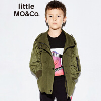 littlemoco春季新品外套儿童褶皱小立领拼接休闲短款夹克外套