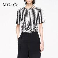 MOCO2019夏季新品纯棉镂空条纹T恤MAI2TEE032 摩安珂