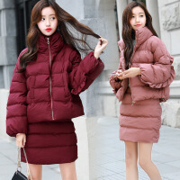 2017新款时尚韩版棉衣套装女冬气质时髦短款棉袄短裙两件套潮