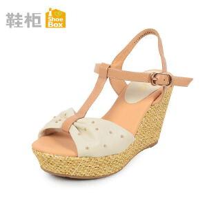 达芙妮集团 鞋柜优雅彩色凉鞋金属色装饰高跟鞋