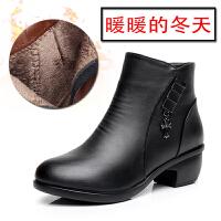 妈妈鞋真皮短筒靴中跟粗跟中靴子加绒中老年棉皮鞋女大码女鞋秋冬