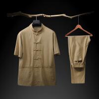 棉麻唐装男老人衣服中老年人套装中国风男士老粗布爷爷装