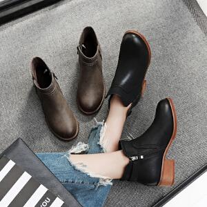 毅雅2017秋冬新款短靴平底低跟英伦风女马丁靴粗跟复古擦色裸靴