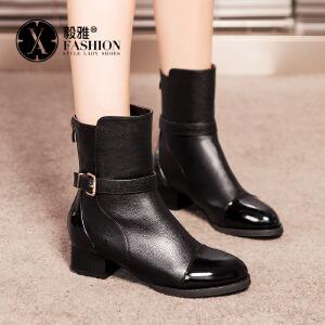 【满200减100】毅雅女鞋秋冬新款欧美风中筒粗跟中跟骑士靴