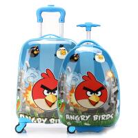 七夕礼物16寸愤怒的小鸟儿童旅行李箱18寸小学生拉杆箱书包男女 19寸蓝色方形(送锁+贴纸)