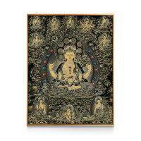 新中式装饰画 古典玄关书房背景墙竖版壁画唐卡佛像挂画藏域