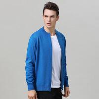 2018秋季新款新款男士半高领拉链毛衣开衫羊绒外套保暖针织纯色加厚大码