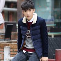 韩观男士棉衣冬季青年冬装帅气休闲外套潮流韩版修身加厚棉袄 藏青色
