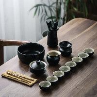 黑陶家用盖碗茶杯套装陶瓷茶壶功夫茶具简约干泡茶盘送父亲送朋友