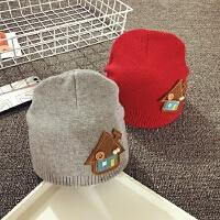 男女宝宝帽1岁秋冬天新生婴儿帽子0-3-6-月针织毛线套头帽护耳