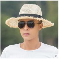 新款男士防紫外线拉菲草帽沙滩帽牛仔帽子男遮阳帽防晒太阳帽 可礼品卡支付