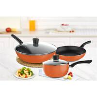 炒锅不粘锅烹饪三件套锅具套装组合厨房家用美的电磁炉通用