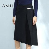 【品牌团 1件7折/2件5折】Amii[极简主义]秋装新品压褶中长羊毛混纺毛呢半身裙11683900