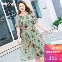 MsShe加大码女装2018新款夏装胖mm荷叶边印花雪纺连衣裙M1823166