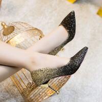新娘鞋时尚仙女单鞋子高跟鞋女细跟百搭韩版女鞋