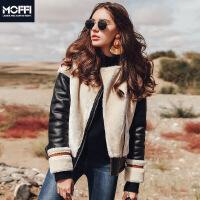 短款外套秋冬欧美新款百搭保暖人造皮草拼接夹克外套 棕色