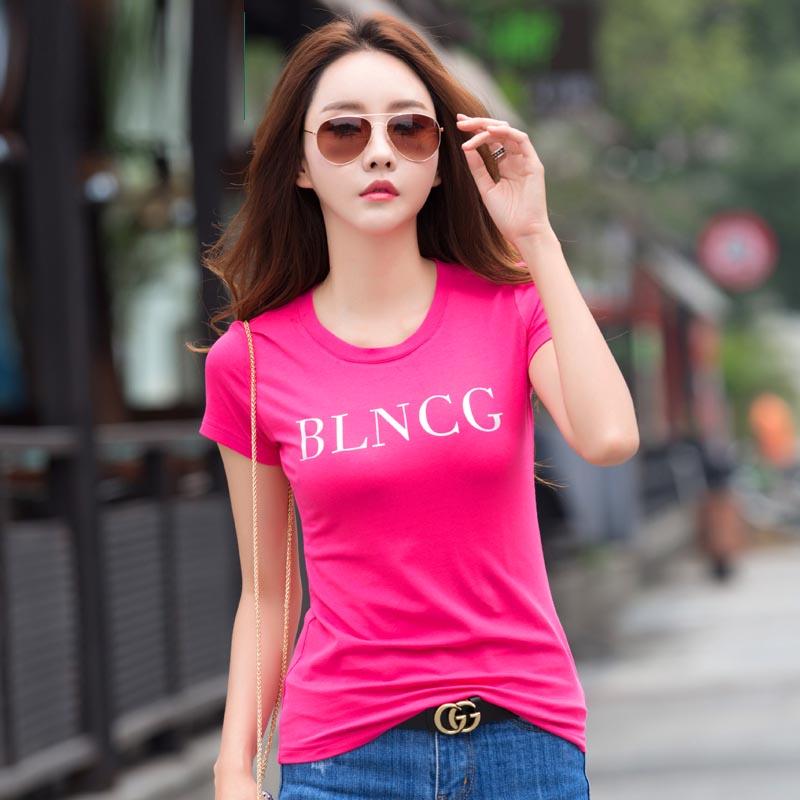 夏季简约字母印花白色t恤女韩范百搭修身显瘦女士上衣短袖衫