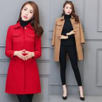 2017秋季新款韩版优雅毛呢外套 修身修身中长款红色喜庆呢大衣女
