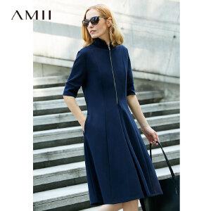 【大牌清仓 5折起】Amii运动风a字黑色连衣裙女2018春季新款高领收腰裙