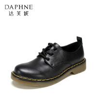 【达芙妮年货节】Daphne/达芙妮 复古圆头单鞋英伦系带方跟女鞋女