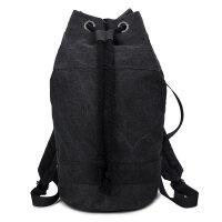 健身背包男篮球包束口袋抽绳帆布双肩包女轻便户外运动布袋水桶包 黑色