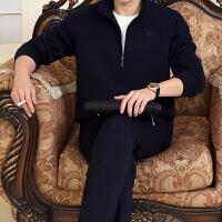春装新品运动服套装男款大码长袖长裤立领棉质户外休闲服爸爸装男运动套装
