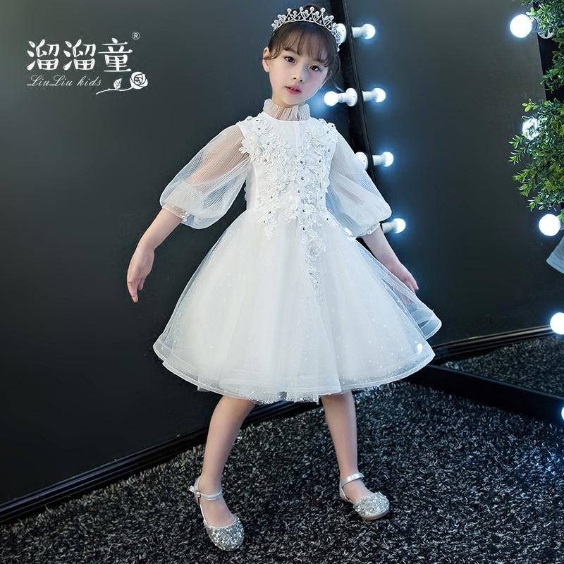 儿童婚纱蓬蓬公主裙小花童晚礼服短款钢琴演出服女童礼服白色立领