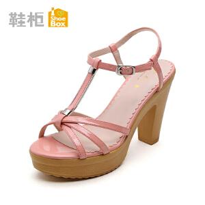 达芙妮旗下shoebox鞋柜时尚新款夏季显瘦粗跟凉鞋 高跟防水台女鞋