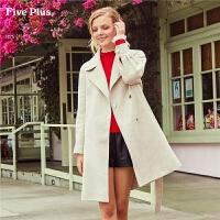 Five Plus新款女冬装格子毛呢外套女系带西装呢子大衣潮长款宽松