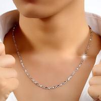99银男士项链 短款有长款 装饰锁骨链足银挂链无吊坠