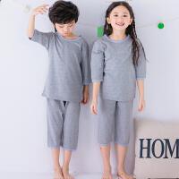 纯棉儿童七分袖短袖套装男童女童家居服夏款睡衣套装短袖短裤套装两件套