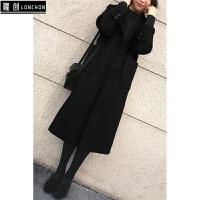 毛呢外套女2017秋冬季新款妮子韩版显瘦中长款黑色过膝呢大衣 X