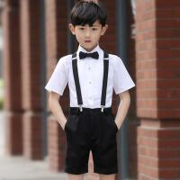 儿童礼服男短裤背带套装学生合唱演出服花童礼服男夏 白色褶皱衬衫短款背带装