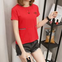 T恤女开叉新款韩版修身圆领纯棉百搭女装打底衫女士上衣 红色 891嘴唇款