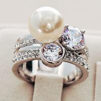 日韩国时尚潮人人造珍珠女男欧美饰品宽夸张关节食指装饰戒指指环
