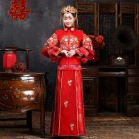 大码新娘孕妇中式婚纱礼服秀禾服敬酒服红色回门装长袖200斤秋冬 红色