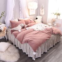 家纺冬季兔兔绒加厚保暖四件套加绒床单法莱绒珊瑚绒4件套1.8床品