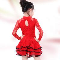 女童练功服少儿拉丁舞蹈公主裙演出服 儿童拉丁舞服装新款春秋长袖 红 色