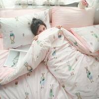 单面加绒 双人床品三四件套件温暖一冬1.5m床床单 2.0m(6.6英尺)床 四件套