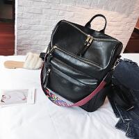 2019新款潮复古英伦双肩包女韩版学生书包简约pu皮大容量旅行背包