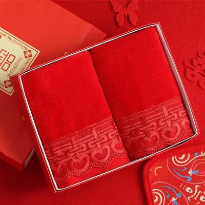 结婚用品喜庆红毛巾一对喜字红色婚庆婚礼陪嫁回礼伴手礼礼盒 (礼盒装)