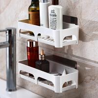 卫生间置物架壁挂吸盘浴室置物架洗手台收纳架子洗手间厕所置物架 本款为单层【买两层送肥皂架】